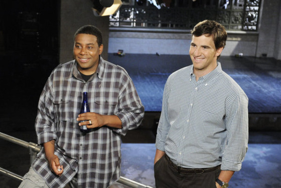 SATURDAY NIGHT LIVE -- Episode 1618 -- Pictured: (l-r) Kenan Thompson, Eli Manning -- (Photo by: Dana Edelson/NBC)
