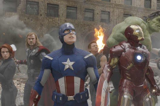 """Marvel's The Avengers"" L to R: Black Widow (Scarlett Johansson), Thor (Chris Hemsworth), Captain America (Chris Evans), Hawkeye (Jeremy Renner), Iron Man (Robert Downey Jr.), and Hulk (Mark Ruffalo)."
