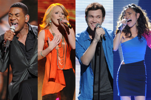 Josh Ledet, Hollie Cavanagh, Phillip Phillips and Jessica Sanchez perform on American Idol airing Wednesday, May 9 (8:00-10:00 PM ET/PT) on FOX.
