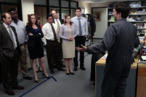 "THE OFFICE -- ""Free Family Portrait Studio"" Episode 824 -- Pictured: (l-r) Paul Lieberstein as Toby Flenderson, Craig Robinson as Darryl Philbin, Catherine Tate as Nellie Bertram, Ellie Kemper as Erin Hannon, Oscar Nunez as Oscar Martinez, Brian Baumgartner as Kevin Malone, Jenna Fischer as Pam Halpert, John Krasinski as Jim Halpert, Ed Helms as Andy Bernard -- (Photo by: Chris Haston/NBC)"