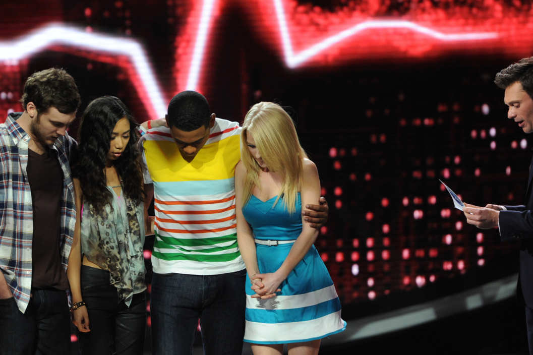 AMERICAN IDOL: L-R: Phillip Phillips, Jessica Sanchez, Josh Ledet and Hollie Cavanagh wait to hear how America voted on AMERICAN IDOL airing Thursday, May 10 (8:00-9:00 PM ET/PT) on FOX.