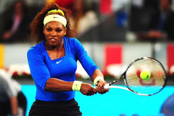 MADRID, SPAIN - MAY 08:  Serena Williams of USA plays a backhand during her 2nd round match against Anasasia Pavlyuchenkova of Russia during the Mutua Madrilena Madrid Open at the Caja Magica on May 8, 2012 in Madrid, Spain.  (Photo by Mike Hewitt/Getty Images)