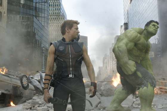 """Marvel's The Avengers""  L to R: Hawkeye (Jeremy Renner) and Hulk (Mark Ruffalo)  Ph: Film Frame  © 2011 MVLFFLLC.  TM & © 2011 Marvel.  All Rights Reserved."