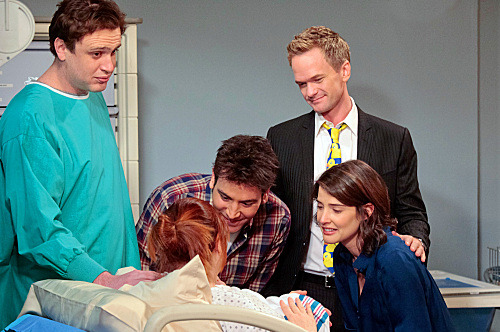 """The Magician's Code Part One"" -- The gang rallies around Lily (Alyson Hannigan) to look at her new born baby. (L-R) Marshall (Jason Segel), Ted (Josh Radnor), Barney (Neil Patrick Harris) and Robin (Cobie Smulders), on HOW I MET YOUR MOTHER, Monday, May 14 (8:00-8:30 PM, ET/PT) on the CBS Television Network.?'???'??#BarneysBrideUnveiled  ?'??2012 Fox Television. All Rights Reserved."