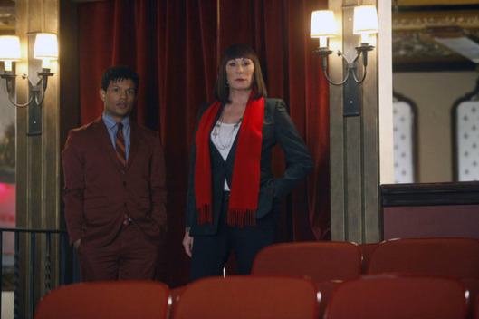 "SMASH -- ""Bombshell"" Episode 115 -- Pictured: (l-r) Jaime Cepero as Ellis Boyd, Anjelica Huston as Eileen Rand."