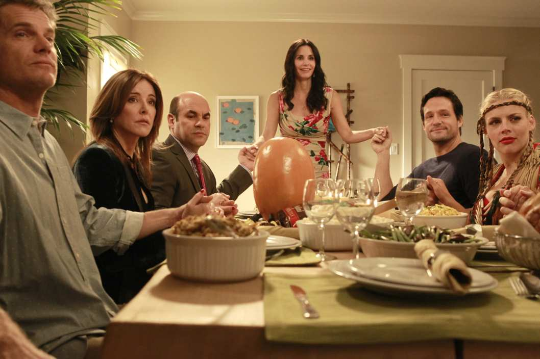 "COUGAR TOWN - ""It'll All Work Out"" - When Jules realizes that the cul-de-sac crew didn't celebrate Thanksgiving together, she decides to celebrate the holiday, even though it's spring. But the family spirit is shattered, in more ways than one, when Little Stan gets his hands on Big Carl and Jules questions Ellie's parenting skills. Meanwhile, Travis struggles to write Jules' wedding vows and asks Bobby and Laurie for help, and Grayson helps a nervous Andy practice for the annual pizza toss for candidates running for mayor, on ""Cougar Town,"" TUESDAY, MAY 15 (8:30-9:00 p.m., ET) on the ABC Television Network. (ABC/PETER ""HOPPER"" STONE) BRIAN VAN HOLT, CHRISTA MILLER, IAN GOMEZ, COURTENEY COX, JOSH HOPKINS, BUSY PHILIPPS"