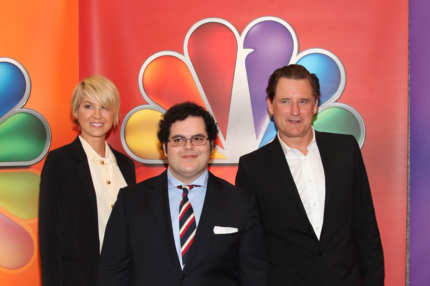Actors Jenna Elfman, Josh Gad, and Bill Pullman attend NBC's Upfront Presentation at 51st Street on May 14, 2012 in New York City.