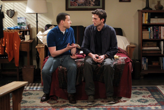 """Not in my mouth!"" -- Alan (Jon Cryer) and Walden (Ashton Kutcher) discuss Zoey\'s response to Walden telling her he loves her, on TWO AND A HALF MEN, Monday, date (9:00-9:31 PM, ET/PT) on the CBS Television Network.  Photo: Sonja Flemming/CBS ©2012 CBS Broadcasting Inc. All Rights Reserved."