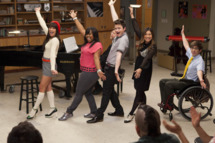 "GLEE: The glee club performs in the ""Goodbye"" season finale episode of GLEE airing Tuesday, May 22 (9:00 - 10:00 PM ET/PT) on FOX. Pictured L-R: Lea Michele, Amber Riley, Chris Colfer, Jenna Ushkowitz and Kevin McHale. ?2012 Fox Broadcasting Co."