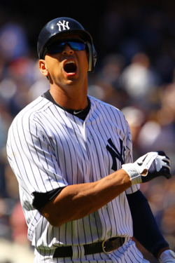 NEW YORK, NY - MAY 20:  Alex Rodriguez #13 of the New York Yankees reacts after flying out against the Cincinnati Reds in the eigth inning during their game on May 20, 2012 at Yankee Stadium in the Bronx borough of New York City.  (Photo by Al Bello/Getty Images)