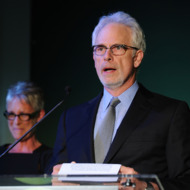 SANTA MONICA, CA - JUNE 04:  Presenters Christopher Guest and Jamie Lee Curtis speak onstage at Global Green USA's 15th annual Millenium Awards at the Fairmont Miramar Hotel on June 4, 2011 in Santa Monica, California.  (Photo by Alberto E. Rodriguez/Getty Images for Global Green)