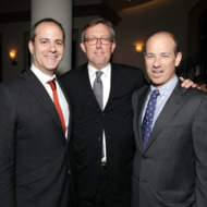 HOLLYWOOD, CA - MARCH 15: (L-R) Showtime Networks Entertainment president David Nevins with Homeland Executive Producers Alex Gansa and Howard Gordon at the Israel Film Festival opening night gala at Paramount Theater on the Paramount Studios lot on March 15, 2012 in Hollywood, California.  (Photo by Todd Williamson/WireImage)