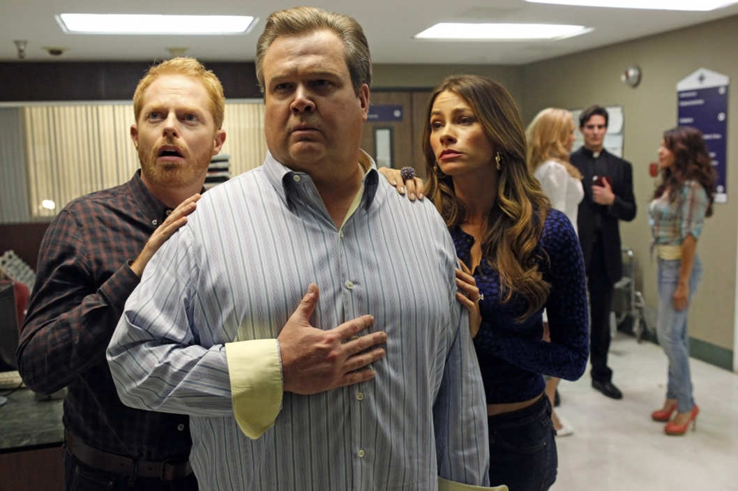 "MODERN FAMILY - ""Baby on Board"" - It's been an up-and-down emotional roller coaster for Mitch and Cam in their quest to adopt another child. Their latest ride has them bringing Gloria in tow as a translator, leaving Jay and Manny to look after Lily, who has a big dance recital coming up. Meanwhile Claire and Phil have a proud parenting moment when they send Alex off to her first prom, but then that is quickly marred with Haley's shocking news of her future plans, on the Season Finale of ""Modern Family."""
