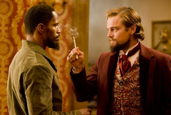 "Jamie Foxx, left, and Leonardo DiCaprio in Columbia Pictures' ""Django Unchained,"" also starring Christoph Waltz."