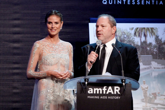 CAP D'ANTIBES, FRANCE - MAY 24:  (L-R) Heidi Klum and producer Harvey Weinstein speak onstage during the 2012 amfAR's Cinema Against AIDS during the 65th Annual Cannes Film Festival at Hotel Du Cap on May 24, 2012 in Cap D'Antibes, France.  (Photo by Andreas Rentz/Getty Images)