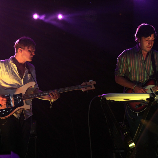 Musicians Chris Taylor and Ed Droste of Grizzly Bear perform during Day 1 of the Coachella Valley Music & Art Festival 2010