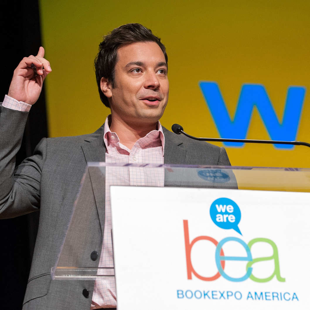 Jimmy Fallon speaks on stage during the 2012 Book Expo America