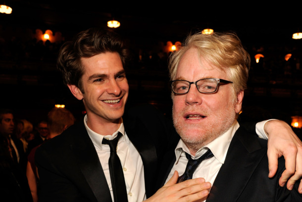 NEW YORK, NY - JUNE 10:  (EXCLUSIVE COVERAGE) Actors Andrew Garfield and Philip Seymour Hoffman attend the 66th Annual Tony Awards at The Beacon Theatre on June 10, 2012 in New York City.  (Photo by Kevin Mazur/WireImage for Tony Award Productions)