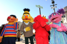 NEW YORK - FEBRUARY 04:  Sesame Street characters Ernie, Bert, Elmo and Abby Cadabby attend the temporary street renaming to celebrate the 30th anniversary of Sesame Street Live on 31st Street & 8th Avenue on February 4, 2010 in New York City.  (Photo by Jason Kempin/Getty Images) *** Local Caption *** Ernie;Bert;Elmo;Abby Cadabby