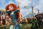 """""""BRAVE""""   (L-R) LORD MACINTOSH and his son, YOUNG MACINTOSH; MERIDA, WEE DINGWALL and his father, LORD DINGWALL; LORD MacGUFFIN and his son, YOUNG MacGUFFIN; QUEEN ELINOR and KING FERGUS.  ©2011 Disney/Pixar. All Rights Reserved."""