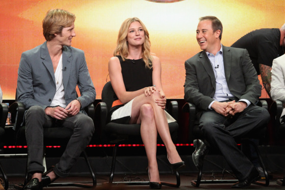 "BEVERLY HILLS, CA - AUGUST 07:  Actors Gabriel Mann, Emily VanCamp and Creator/Executive Producer Mike Kelley of the television show ""Revenge"" speak during the Disney ABC Television Group portion of the 2011 Summer Television Critics Association Press Tour held at The Beverly Hilton Hotel on August 7, 2011 in Beverly Hills, California.  (Photo by Frederick M. Brown/Getty Images)"