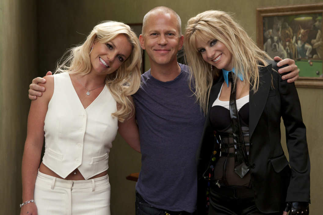 "GLEE: Britney Spears (L), Co-Creator/Executive Producer Ryan Murphy (C) and Heather Morris (R) on the set of GLEE for the ""Britney Britney"" episode"