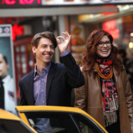 SMASH -- Pilot -- Pictured: (l-r) Christian Borle as Tom Levitt, Debra Messing as Julia Houston-- Photo by: Will Hart/NBC