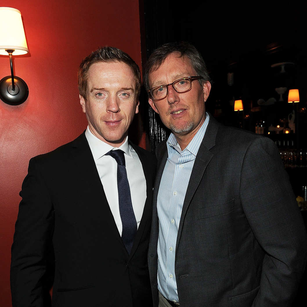Actor Damian Lewis and Executive Producer Alex Gansan (R) attend Showtime's Golden Globe nominees cocktail reception at Osteria Mozza on January 14, 2012 in Los Angeles, California.