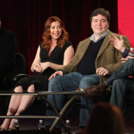 "PASADENA, CA - JANUARY 11: (L-R) Actor Jason Segel, actress Alyson Hannigan, co-creators Carter Bays and Craig Thomas of the television show ""How I Met Your Mother"" speak during the CBS portion of the 2012 Television Critics Association Press Tour at The Langham Huntington Hotel and Spa on January 11, 2012 in Pasadena, California.  (Photo by Frederick M. Brown/Getty Images)"
