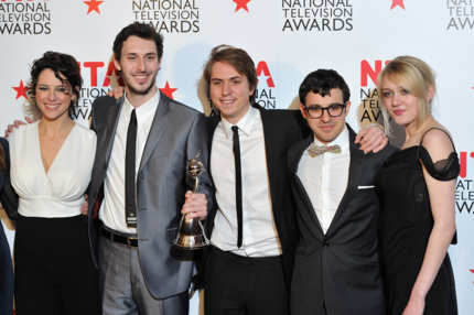 LONDON, ENGLAND - JANUARY 26:  The cast of The Inbetweeners (L-R) Actors Belinda Stewart-Wilson, Blake Harrison, James Buckley, Simon Bird and Emily Head with their Digital Choice Award during the National Television Awards at the O2 Arena on January 26, 2011 in London, England.  (Photo by Gareth Cattermole/Getty Images) *** Local Caption *** Belinda Stewart-Wilson;Blake Harrison;James Buckley;Simon Bird;Emily Head