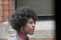 "Andre 3000 on film set in Dublin, Ireland. Andre is seen walking with his arm around co-star, Hayley Atwell on the Jimi Hendrix movie, ""All Is By My Side""."
