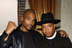 "Joseph ""Run"" Simmons and Darryl ""DMC"" McDaniel of Run DMC before the press conference to announce a coalition to support the family of Jam Master Jay at the Rhiga Royal Hotel in New York City, November 6, 2002. Jay, real name Jason Mizell was shot and killed on October 30 in Queens, New York. Photo by Frank Micelotta/ImageDirect."