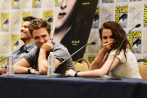 "Actors Robert Pattinson and Kristen Stewart speak onstage at ""The Twilight Saga: Breaking Dawn Part 2"" during Comic-Con International 2012 at San Diego Convention Center"