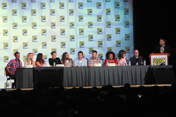 "SAN DIEGO, CA - JULY 13:  Cast of Community speak at ""Community"" School is Back in Session Panel during Comic-Con International 2012 at San Diego Convention Center on July 13, 2012 in San Diego, California.  (Photo by Alexandra Wyman/Getty Images)"