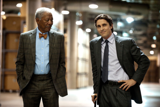 L-r: MORGAN FREEMAN as Lucius Fox and CHRISTIAN BALE as Bruce Wayne in Warner Bros. Pictures&rsquo; and Legendary Pictures&rsquo; action thriller &ldquo;THE DARK KNIGHT RISES,&rdquo; a Warner Bros. Pictures release. TM &amp; &copy; DC Comics.