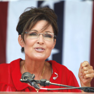"BELLEVILLE, MI, - JULY 14: Sarah Palin, former Governor of Alaska and 2008 Republican Vice Presidential candidate speaks at a ""Patriots in the Park"" Tea Party rally at the Wayne County Fairgrounds July 14, 2012 in Belleville, Michigan. The event was sponsored by Americans for Prosperity: Michigan and the Willow Run Tea Party Caucus. (photo by Bill Pugliano/Getty Images)"