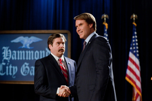 "(L-r) ZACH GALIFIANAKIS as Marty Huggins and WILL FERRELL as Cam Brady in Warner Bros. Pictures' comedy ""THE CAMPAIGN"""