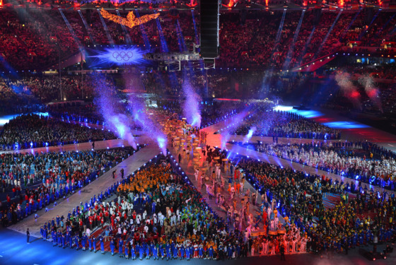 Performers and athletes take part in the Olympic stadium during the closing ceremony of the 2012 London Olympic Games in London on August 12, 2012.  Rio de Janeiro will host the 2016 Olympic Games  AFP PHOTO / SAEED KHAN        (Photo credit should read SAEED KHAN/AFP/GettyImages)
