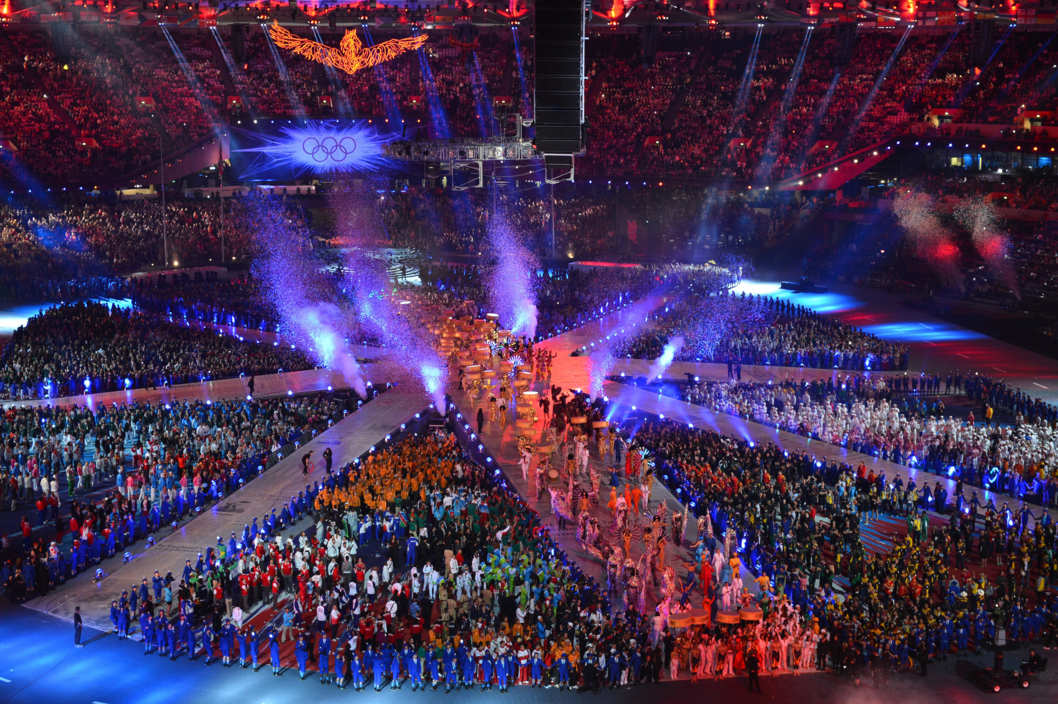 Performers and athletes take part in the Olympic stadium during the closing ceremony of the 2012 London Olympic Games in London on August 12, 2012.  Rio de Janeiro will host the 2016 Olympic Games