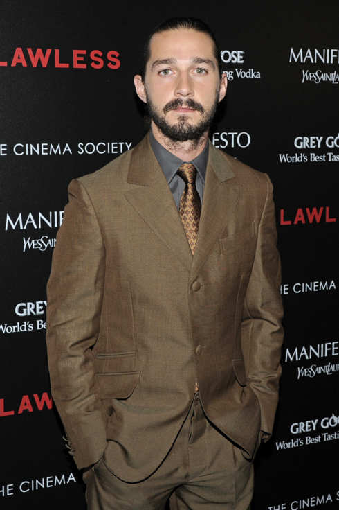 "Shia LaBeouf - The Cinema Society & Manifesto Yves Saint Laurent host a screening of The Weinstein Company's ""Lawless"" - The Paley Center for Media, NYC"
