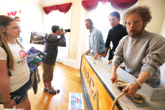 People view a lifesize display of Jaws actors at JawsFest: The Tribute, a festival celebrating the film Jaws, on the island of Martha's Vineyard on August 11, 2012 in Edgartown, Massachusetts.