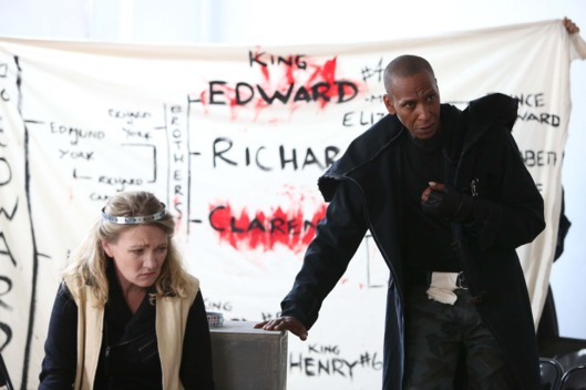 Lynn Hawley and Ron Cephas Jones in The Public Theater's Mobile Shakespeare Unit production of Richard III, directed by Amanda Dehnert, running at The Public Theater from August 6 through August 25. Photo credit: Joan Marcus.