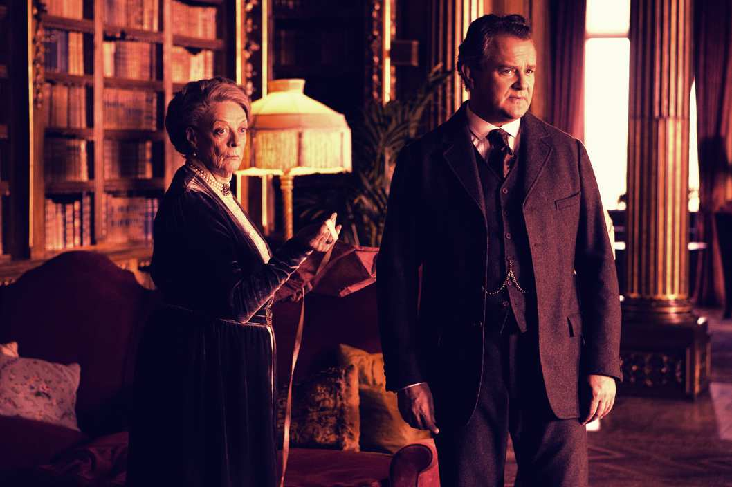 Downton Abbey Season 2 on MASTERPIECE Classic - Part 7 - Sunday, February 19, 2012 at 9pm ET on PBS - Shown from L-R: Maggie Smith as the Dowager - Countess and Hugh Boneville as Lord Grantham