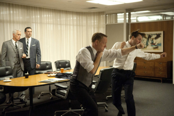 (L-R) Roger Sterling (John Slattery), Don Draper (Jon Hamm), Lane Pryce (Jared Harris) and Pete Campbell (Vincent Kartheiser) - Mad Men - Season 5, Episode 5 - Photo Credit: Ron Jaffe/AMC