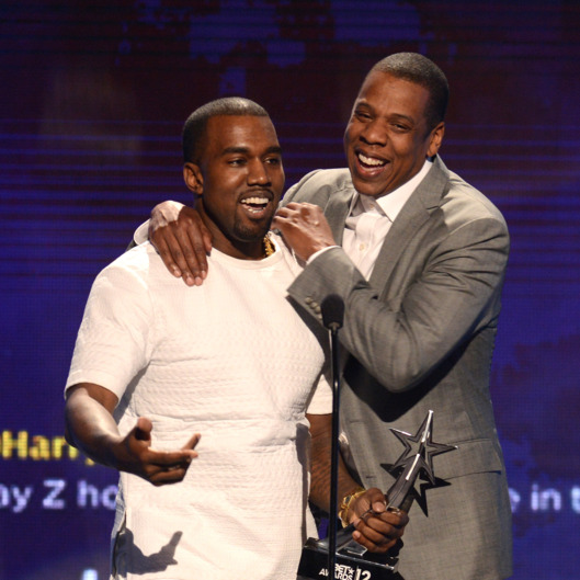 LOS ANGELES, CA - JULY 01:  Recording artists Kanye West (L) and Jay-Z accept the award for Video of the Year onstage during the 2012 BET Awards at The Shrine Auditorium on July 1, 2012 in Los Angeles, California.  (Photo by Michael Buckner/Getty Images For BET)
