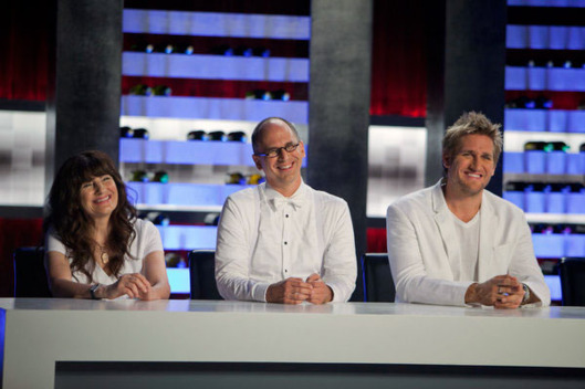 "TOP CHEF MASTERS -- ""Quick Fire/reveal - Ep. 408"" -- Pictured: (l-r) Ruth Reichl, James Oseland, Curtis Stone."