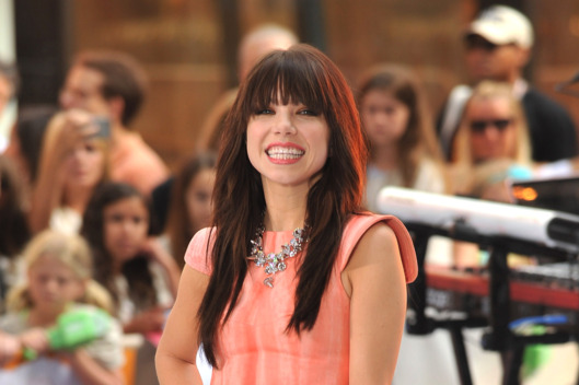 "Carly Rae Jepsen performs on NBC's ""Today"" at Rockefeller Plaza on August 23, 2012 in New York City."
