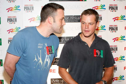 Actors Ben Affleck (L) and Matt Damon arrive at the Ante Up for Africa celebrity poker tournament at the Rio Hotel & Casino July 2, 2009 in Las Vegas, Nevada. Proceeds from the event will benefit survivors of the humanitarian crisis in Darfur, Sudan.