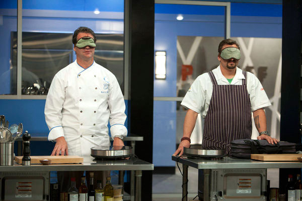 "TOP CHEF MASTERS -- ""Blind QF - Ep. 409""  -- Pictured: (l-r) Kerry Heffernan, Chris Cosentino -- Photo by: Isabella Vosmikova/Bravo"
