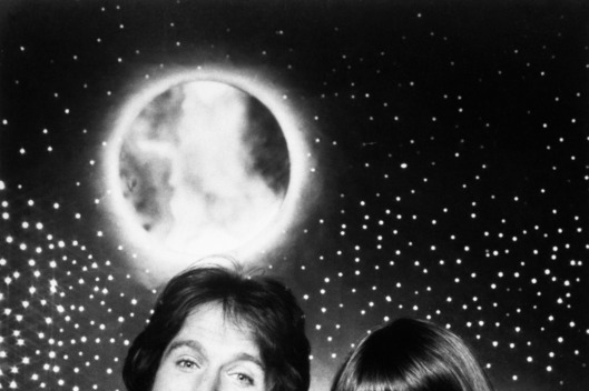27 Jan 1979 --- Original caption: TV Show Mork and Mindy.  Actor Robin Williams and actress Pam Dawber shown in scenes from TV show.